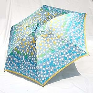 ブランド傘 UV加工 日本製 ハナエ モリ HANAE MORI(折りたたみ)ブルーグレー(水玉フラワー)