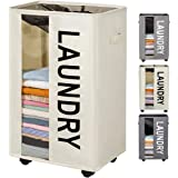 ZERO JET LAG 90L Extra Large Laundry Basket Hamper on Wheels Clear Window Tall Laundry Hamper Handles Collapsible Dirty Cloth