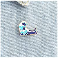 LALANG Cartoon Waves Brooch Enamel Pin buckle for Jacket Bag Pin Badge Sea Jewelry