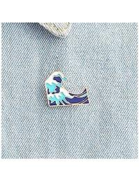LALANG Cartoon Waves Brooch Enamel Pin buckle for Jacket Bag Pin Badge Sea Jewelry