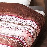 【毛布 シングル 襟付き毛布 遠赤綿&アルミシート使用】 140×200cm 体熱を逃がさないから一晩中暖かい♪ なめらかフランネル側地_ホコリ少ない 色:雪柄ピンク