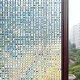 Rabbitgoo 3Dガラスフィルム 窓めかくしフィルム 浴室装飾シート 断熱紫外線カット 無接着剤 再利用可能 プライバシーガラスフィルム(44.5x200cm)