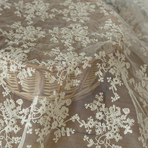 IRIZ130*90cm かわいい花柄刺繍 生地布メッシュレ...