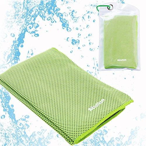 Ribution 冷感タオル 瞬冷スポーツアイスタオル クールタオル 汗や水分吸収 収納ポーチ付き グリーン