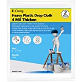 E-Gtong 2 Pack 4 Mil Heavy Duty Plastic Drop Cloth, 9-Feet by 12-Feet Drop Sheet and Clear Plastic Tarp, Extra Thick and Wate
