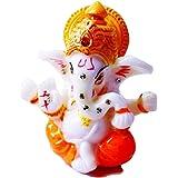 "JB Premium 2.5"" Mini Lord Ganesh/Ganesha Statue Poly Marble Idol. Hindu God of Success (Orange) - For Car/Vehicle dashboard -"