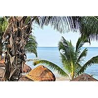 砂浜のビーチのヤシの木 - #35289 - キャンバス印刷アートポスター 写真 部屋インテリア絵画 ポスター 50cmx33cm
