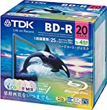 TDK 録画用ブルーレイディスク ハードコート仕様 BD-R 25GB 1-4倍速 5色カラーミックス ワイドプリンタブル対応 20枚パック 5mmスリムケース BRV25PWMB20A