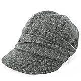 クイーンヘッド AWシャイニングキャスケット 大きいサイズ 小顔 帽子 レディース キャスケット つば長 つば広 UV 紫外線対策 【フリーサイズ(56-58cm)-グレー】