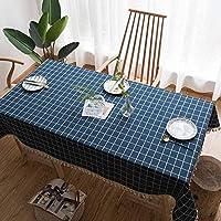 北欧ステッチタッセルテーブルクロス、コットンリネン 長方形テーブル用テーブルクロス洗える卓上装飾牧草地卓上プロテクター-M-135×200センチメートル(53×79インチ)