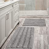 Non Slip Thick Shaggy Chenille Bathroom Rug Mat Set Extra Soft and Absorbent Striped Floor Rugs, 2 Piece, Machine-Washable, D