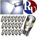 RVNI 20個入り T10 5630 6SMD CANBUS キャンセラー内蔵 投影レンズ LED ライト バルブ ルームライト サイドマーカー ブレーキランプ プラスチック 高寿命 高輝度 W5W 168 921 194 ホワイト