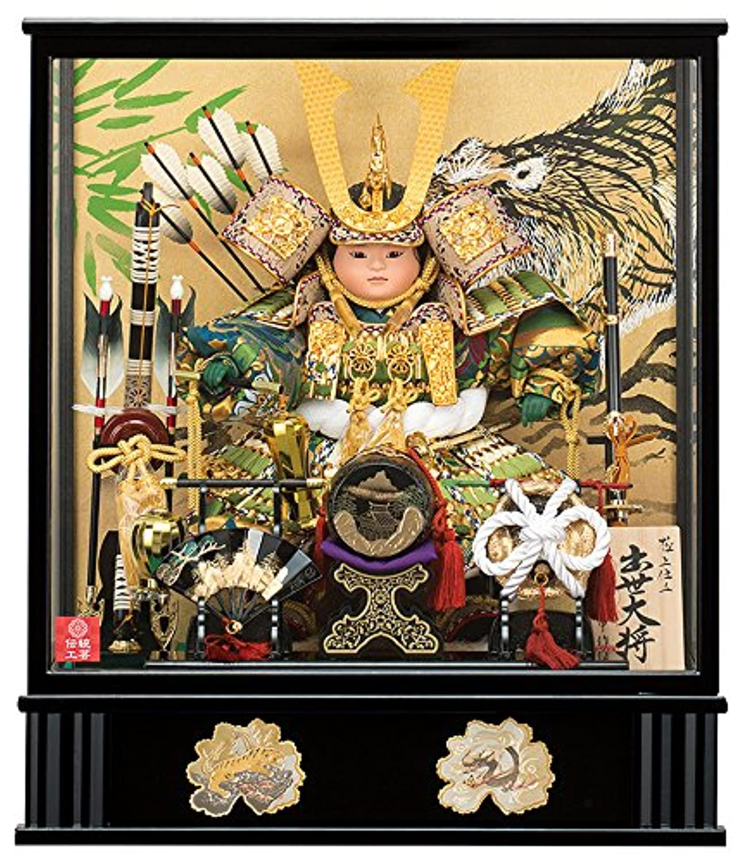 五月人形 子供大将飾り 武者人形 ケース飾り 平安一甲作 出世大将 7号 オルゴール付 h305-moys-033