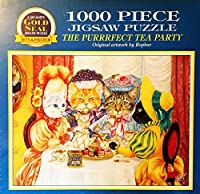 """ゴールドシール1000pc。ジグソーパズル"""" The Purrrfect Tea Party """" ropharアート20"""" x27"""""""