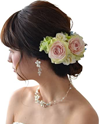 [ミュゼ] 花嫁 ウェディング フラワー ヘッドドレス [アレンジ自在] 髪飾り (造花) セレニティ (白) 0201-26800