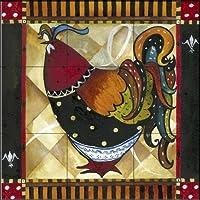 """セラミックタイル壁画–Tuscan Rooster iv- by Jennifer Garant–キッチンBacksplash /バスルームシャワー 9 Tile Mural on 6"""" Tile 15-2364-1818-6C"""