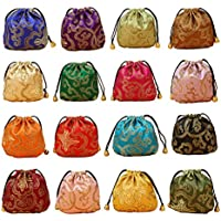 32PCS Silk Brocade Jewelry Pouch Bag Drawstring Coin Purse Gift Bag Value Set