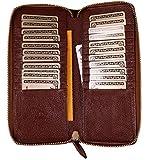 プラスエイチ(Plus H) 財布 ラウンドファスナー カードケース 本革 メンズ レディース 外内側両面レザー 少し長め 大容量 カード22枚収納 クレジットカードケース 収納ウォレット PH8015