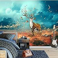 Wuyyii 3D壁の壁画絵画北欧スタイルロマンチックなレトロエルク壁布リビングルームテレビの背景壁紙壁紙家の装飾フレスコ画-400X280Cm