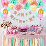 (Green) - Litaus Girls Birthday Decorations, Pom Poms Flowers Kit , Hanging Birthday Banner, Paper Garland, Tassels and Balloons for 1st Birthday Girl Decorations Kids Birthday