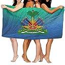 ハイチの国章大きめサイズのコットンビーチバスタオル