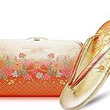 [振袖用] 高級帯地振袖草履バッグセット〈クラッチバッグタイプ〉《選べる2サイズ/2カラー》【金/銀/ゴールド/シルバー/留袖/訪問着/M/L/結婚式/結納/卒業式/入学式/成人式】 (Lサイズ, オレンジ&ゴールド)