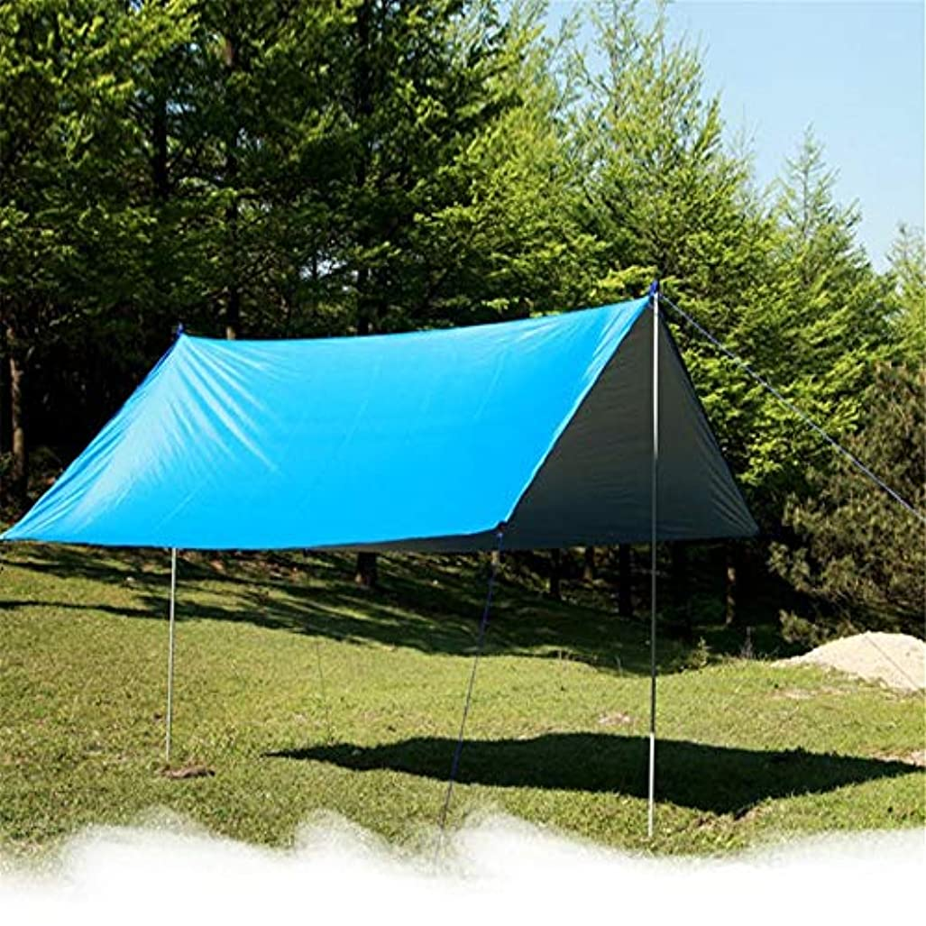 色合い大通り今屋外多機能キャノピー防水日焼け止めのビーチpergolaサンシェードテント軽量防湿マットフロアの布、300 * 300CM、青緑(非ジョイントロッド)