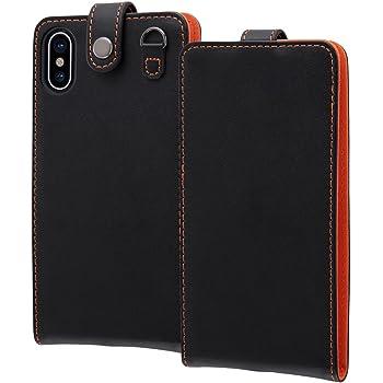 レイ・アウト iPhone X ケース フラップ スナップボタン 縦型/ブラック/オレンジ RT-P16LC1/B