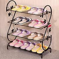 靴フレーム鍛造鉄単純な多層家庭用スリッパフレームストレージ小型靴ラックShoebox (色 : Black)