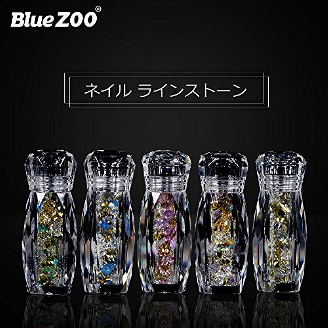 防衛彼らのものバルクBlueZOO (ブルーズー) 5本/セット クリスタルボトル マルチサイズ ネイルアクセサリー + Vカットダイヤモンド + ジェムサークル + タイニービーズ