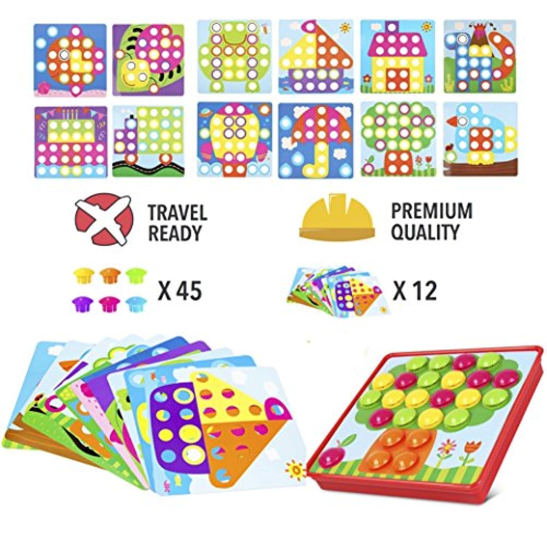 pinspaceボタンアートカラーMushrooms Nails Matchingモザイクペグボードパズルゲームwith 12テンプレート、Fineモータースキルゲーム、最高のギフト男の子と女の子