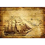 ポスタープリントレトロ懐旧的な航海地図ビンテージ帆船室内装飾