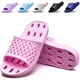 Xomiboe Shower Shoes with Drainage Holes Quick Drying Non Slip Soft Mens and Womens Bathroom Slippers