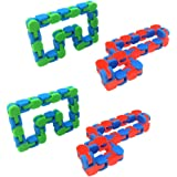 TOYMYTOY 4pcs Wacky Tracks Sensory Fidget Toys Snap and Click Fidget Chain Toys Snake Puzzles for Kids Adults Anxiety Relief