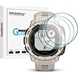 (3 Pack) Orzero Compatible for Garmin Instinct Smartwatch Tempered Glass Screen Protector, 2.5D Arc Edges 9 Hardness HD Anti-