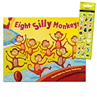 (Classic Edition) - Eight Silly Monkeys Book Set For Kids Toddlers with Stickers by Eight Silly Monkeys Book