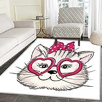 KittenエリアラグLittle Bengal Cats in Basket Cuddly Purebred Kitties Domestic Felineインドア/アウトドアエリアラグ2 ' x3 'ブラウンライトブラウンベージュ 2'x3'(W 60cm x L 90cm)