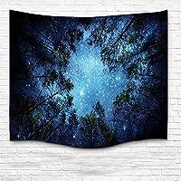 Kasi  壁掛け用タペストリー、ホームデコレーション、森の3Dプリントが施された星空のタペストリー、100%ナイロンの薄手で軽い布製 60x80 Inch ブルー Kasi513