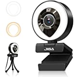 Streaming Webcam with Dual Microphone 1080P Adjustable Right Light Pro Web Camera Advanced Auto-Focus with Tripod JIGA Zoom C