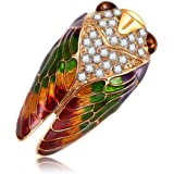Comelyjewel Cicada Brooch Insects Rhinestone Fashion Charms Jewelry Badge Banquet Scarf Pins