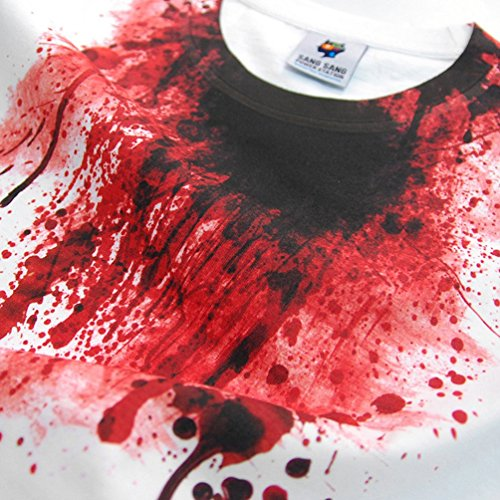 SangSang ST250 ハロウィン ブラッディ血飛沫 高品質 グラフィック デザイン Tシャツ (White, L)