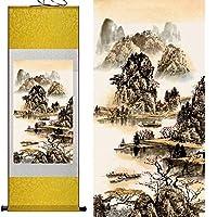 山と川の絵画中国のスクロール絵画風景アート絵画,Yellowpackage,140cmx45cm