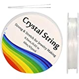 Tailiand Crystal Elastic String - 2 Roll Clear White Stretchy Bead Cord String & 2 Root Threading Needles for Bracelet,Beadin