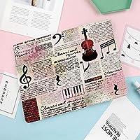 新型iPadケース スマートカバー アイパッドケース タブレットカバー プロ10.5 iPad Pro 10.5 オートスリープ機能 スタンド付き ダイアリー 手帳型 ブ(モデル番号:A1701,A1709)クラシック音楽のテーマ楽器ピアノバイオリンノート記号装飾