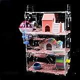 億騰 透明なハムスターケージ ハムスターハウス 小動物ケージ 飼育ケージ 通気性抜群 組立式 内装 幅広い 持ち運びやす…