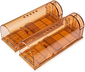 Sopito ネズミ捕獲器 ネズミ取り ネズミ捕り ハツカネズミ、小さいネズミよう ワナ 角型 小型 動物用捕獲器 畑 庭 家庭菜園 トラップ 罠 ワナ 人道的 無毒無害 細菌伝染防止 再利用可能 簡単設置 (2個セット)