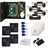 4 Doors Complete TCP/IP RFID Access Control Systems with North American Standard Electric Strike for Latch Doors Keypad Reade