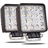 CooAgo LEDワークライト CREE製 48W厚型 LED作業灯 广角タイプ 角型 16連 10-30VDC対応(12V/24V兼用) 新設計 防水・防塵・耐衝撃・長寿命 車外灯 機械・オートバイ・自動車・トラック用品 汎用作業灯 ( 2個セット、1年保証 )