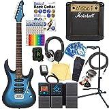 エレキギター 初心者セット AriaProII MAC-STD MBS マーシャルアンプ付 18点セット 【ZOOM G1Xon マルチエフェクター付】