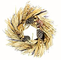 "Admired By Nature GFW7018-Natural 24"" Faux Pumpkin Wheat Berry Corn Husk Wreath [並行輸入品]"